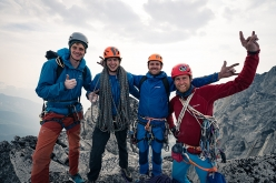 Will Stanhope, Wilson Cutbirth, Waldo Etherington and Leo Houlding on the top of South Tower, Howser Towers, Bugaboos