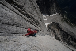 Leo Houlding on the incredible 250m crux corner of 'All along the Watch Tower' on North Tower of the Howser Towers, Bugaboos. The 1000m long climb is a major one-day objective in itself. (photo - )