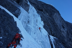 During the first ascent of 'Gnadenlos', Ortler NW Face (Daniel Ladurner, Johannes Lemayer, Herbert Plattner)