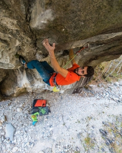 Andrea Zanone redpointing his first 9a, Coup de Grace in Val Bavona, Switzerland