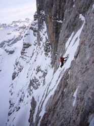 Alessandro Baù and Nicola Tondini during the first winter ascent of Captain Sky-hook, Civetta, Dolomites