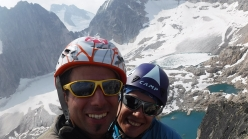 Luca Montanari and Arianna Del Sordo on the Donkey's Ears, Crescent Towers, Bugaboos, Canada