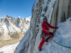 Shivling Shiva's Ice: Simon Gietl at the start of the icefall