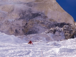 Shivling Shiva's Ice: Simon Gietl just below the headwall