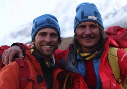 Shivling Shiva's Ice: Vittorio Messini and Simon Gietl, tired but happy back at base camp