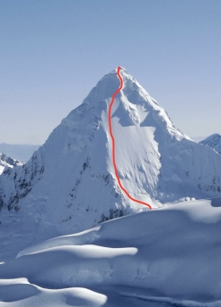Artesonraju (6025m), Peru and the line skied for the first time by Patrick Vallencant in 1979.
