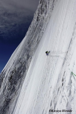Kenro Nakajima tackling the crux section between Camp 2 and Camp 3 while making the first ascent of the NE Face of Shispare (7611m), Karakorum together with Kazuya Hiraide