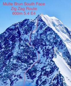 The Zig Zag route on the South Face of Malte Brun (3198 m), New Zealand, skied for the first time by Enrico Mosetti, Ben Briggs, Tom Grant in November 2017