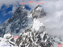 Ushba with its South and North summits (4698 m) and the East couloir