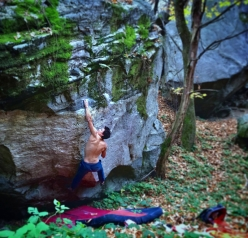 Luca Rinaldi making a flash ascent of 'Blinded by the light' 8B at Brione, Canton Ticino, Switzerland