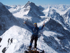 On the summit of the Eiger
