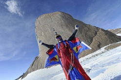 Valery Rozov after his BASE Jump off Ulvetanna, Antarctica, Dcember 2010
