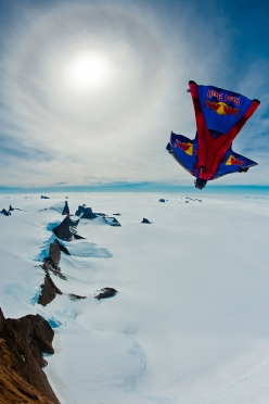 Valery Rozov making the BASE Jump off Ulvetanna, Antarctica, Dcember 2010