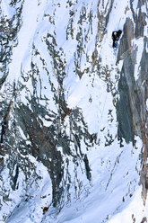 13/03/2010 Marco and Hervé Barmasse during the first ascent of their new route up the South Face of the Matterhorn