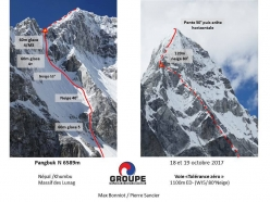 Tolérance Zero up Pangbuk North (6589 m), Nepal, established by French alpinists Max Bonniot and Pierre Sancier 18-19/10/2017)