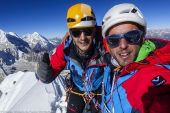 Max Bonniot and Pierre Sancier on the summit of Pangbuk North (6589 m), Nepal, after having made the first ascent of Tolérance Zero up the mountain's North Face (18-19/10/2017)