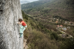 Peter Moser making the first ascent of the climb 'Progetto Bassi', an old project bolted by Roberto Bassi years ago at the historic Italian crag Celva in Northern Italy