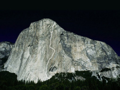 The line of the Dawn Wall, El Capitan, Yosemite, free climbed by Tommy Caldwell and Kevin Jorgeson from 27/12/2014 to 14/01/2015.