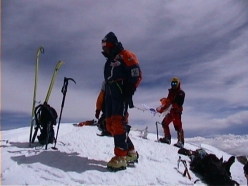Hans Kammerlander and Jean-Christophe Lafaille on the summit of K2 on Sunday 22 July 2001
