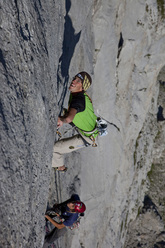 Hansjörg & Vitus Auer during the first free ascent of Vogelfrei 8b/8b+, Schüsselkarspitze, Austria