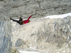 Angelika Rainer climbing French Connection D15- at the crag Tomorrow's World in the Dolomites