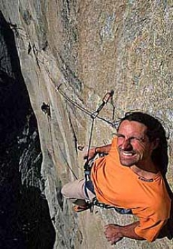 Alexander Huber hanging out on the A5 Traverse pitch of Golden Gate, El Capitan, Yosemite