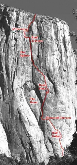 The line of El Corazon, El Capitan, Yosemite, found and freed by Alexander Huber in 2001