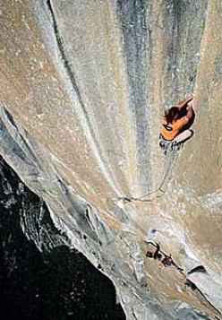 Alexander Huber climbing the 8th pitch 5.13a of El Corazon, El Capitan, Yosemite