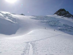 Ski mountaineering in Val Senales: skinning up to Punta Finale