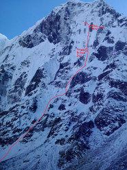 Il tracciato del tentativo sulla parete Nord del Tsuro Ri