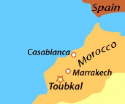 Map of Morocco and Mount Toubkal