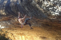 Iker Pou making the first ascent at Margalef of La Orden del Puño 8c