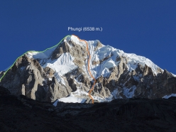 The line of the first ascent of Phungi Peak (6538 m), Himalaya, Nepal, climbed alpine style over five days by the Russians Yury Koshelenko and Aleksei Lonchinskii in autumn 2017