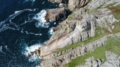 The Devil's Slide on Lundy Island, UK, first climbed in 1961 by Keith M. Lawder and Jimmy Logan