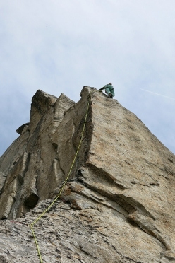 Francesco Salvaterra making the first ascent of La Polena on Campanile di San Giusto, Presanella (Tiziano Canella, Francesco Salvaterra 16-17/06/2017