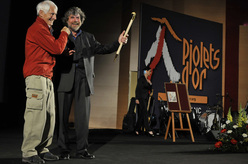Walter Bonatti and Reinhold Messner at Courmayeur during the Piolet d'or 2010