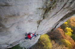 James Pearson making the first ascent of Power Ranger, Sunset Rocks, Chattanooga, USA. 'falling off the upper moves would send you exactly in the direction you don't want to be!  I never fell off the last few moves so I can't say for sure. Perhaps it is safe, perhaps not… only time will tell.'