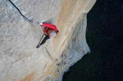 Hazel Findlay high on the headwall during her free ascent of The Salathé Wall, El Capitan, Yosemite