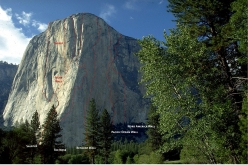 El Capitan in Yosemite with the routes The Salathé Wall, Muir Wall, The Shield, The Nose, Reticent Wall, Pacific Ocean Wall and North America Wall