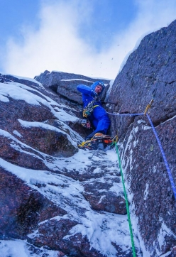 Guy Robertson making the first winter ascent of The Exorcist (VIII,8) on Hell's Lum Crag in the Cairngorms, Scotland (24/11/2017)