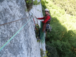 Via Fabio Comini, parete di Padaro, Arco: the exposed belay on pitch 2