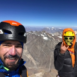 Tino Villanueva and Alan Rousseau on the summit of Rungofarka 6495 m, Himalaya. The two American mountain guides made the first ascent of the peak alpine style over five days in autumn 2017
