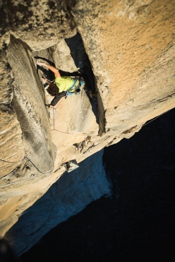 Jacopo Larcher making the first repeat of Magic Mushroom on El Capitan, Yosemite, carried out with Barbara Zangerl