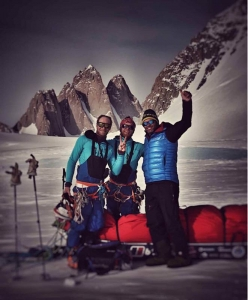 Leo Houlding, Jean Burgun and Mark Sedon reach the Spectre and the Organ Pipe Peaks, Gothic Mountains, Antarctica after having hauled their sledges for 300 km