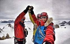 Mark Sedon, Jean Burgun and Leo Houlding on 8 December 2017 the summit of Spectre, Organ Pipe Peaks, Gothic Mountains, Antarctica.