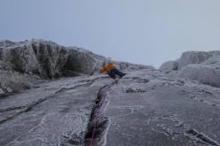 Guy Robertson making the first ascent of Lost Arrow Winter Variation, climbed together with Greg Boswell and at Bidean nam Bian, Glen Coe, Scotland
