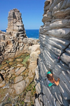 The cliffs at  Capo Pecora in Sardinia are protected by trad gear but the rock, despite its appearance, can be misleadingly fragile