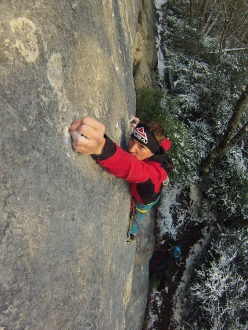 Alessandro Zeni sticking the tiny crimps on Bimbaluna at Saint Loup in Switzerland