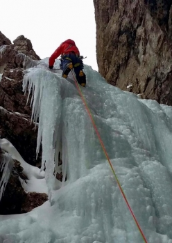 Simon Gietl and Andrea Oberbacher climbing the icefall up Torre Vitty, Sella Dolomites