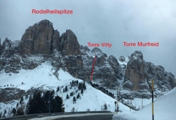 The icefall up Torre Vitty, Sella, Dolomites